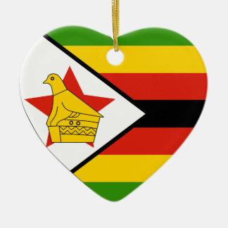 USA & Zimbabwe Flag Heart Ornament Ceramic Heart Ornament
