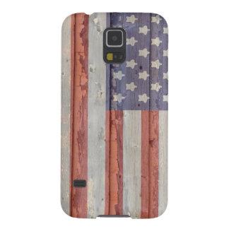 Usada bandera americana de madera vieja funda para galaxy s5