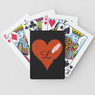 Usado diseño hecho andrajos herido del corazón baraja de cartas bicycle