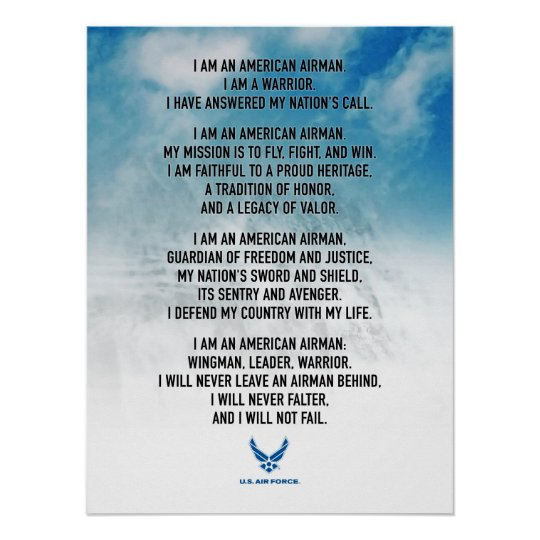 Usaf airmans creed poster zazzle usaf airmans creed poster thecheapjerseys Images
