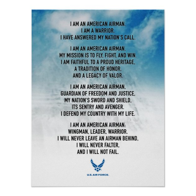 United States Air Force The Airman/'s Creed 2007 Poster