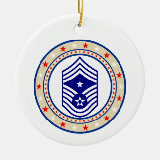 USAF Command Chief Master Sergeant E-9 CCM Sgt Double-Sided Ceramic Round Christmas Ornament