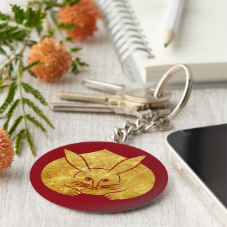 Usagi kamon japanese rabbit in faux gold on red keychain