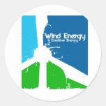 Usando creativety en energía eólica.  Windsmiths Etiqueta Redonda