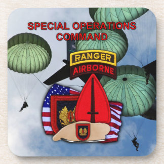 usasoc special ops vets patch Cork Coaster