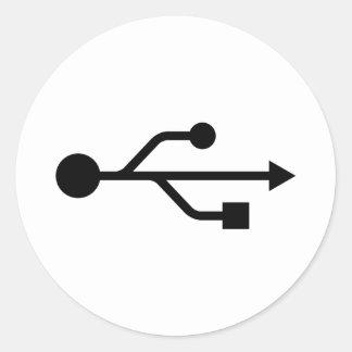USB Logo Round Stickers