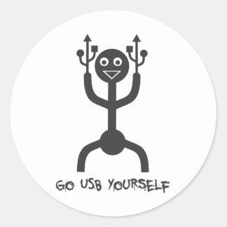 USB Man Classic Round Sticker