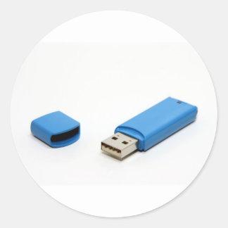 USB Thumb Drive Classic Round Sticker