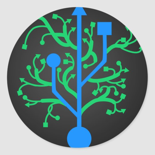 USB tree Classic Round Sticker