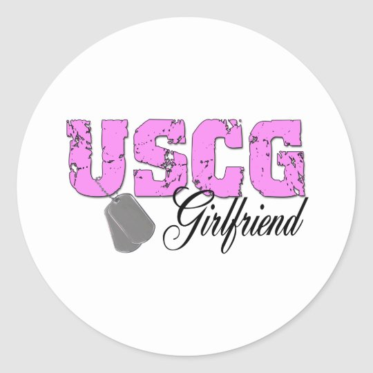 uscg99girlfriend2 classic round sticker