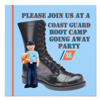 "USCG Boot Camp Going Away Party Invitation 5.25"" Square Invitation Card"
