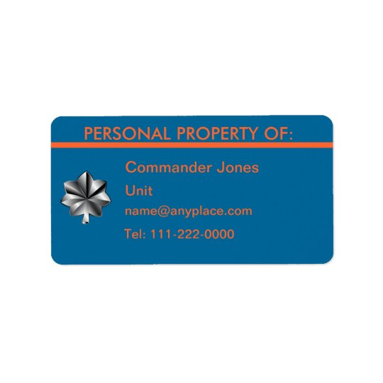 USCG Commander Personal Property Label