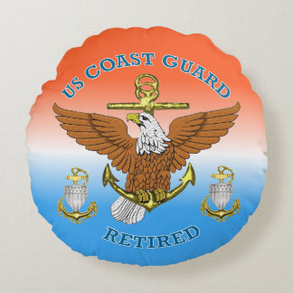 USCG CPO Retired Eagle Anchor Shield Round Pillow