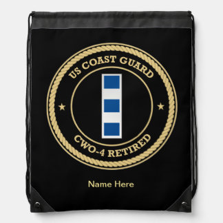 USCG CWO-4 Retired Collar Device Shield Drawstring Backpack