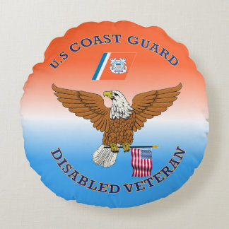 USCG Disabled Veteran Eagle Shield Round Pillow