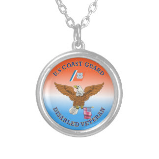 USCG Disabled Veteran Eagle Shield. Silver Plated Necklace