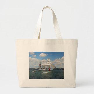USCG Eagle departing Boston Large Tote Bag
