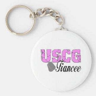 USCG Fiancee Basic Round Button Keychain