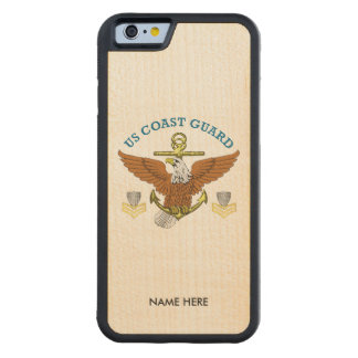 USCG First Class Eagle Anchor Shield Carved Maple iPhone 6 Bumper Case