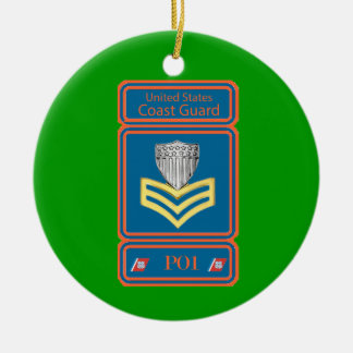 USCG First Class Petty Officer Logo Double-Sided Ceramic Round Christmas Ornament