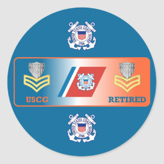 USCG First Class Petty Officer Retired Shield Classic Round Sticker