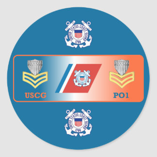 USCG First Class Petty Officer Shield Round Sticker