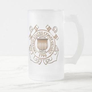USCG FROSTED GLASS BEER MUG