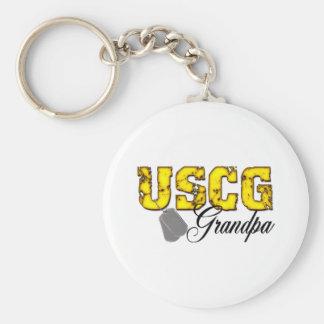 USCG Grandpa Basic Round Button Keychain