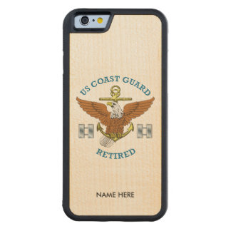 USCG Lieutenant Retired Eagle Anchor Shield Carved Maple iPhone 6 Bumper Case