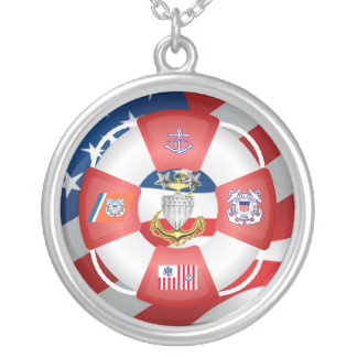 USCG Life-Ring MCPO Silver Plated Necklace