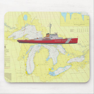 USCG Mackinac Ice breaker and Great Lakes chart Mouse Pad