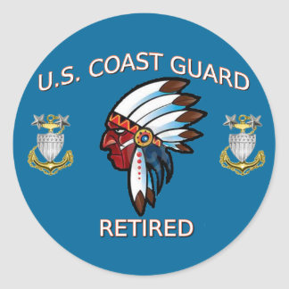 USCG  Master Chief Petty Officer Retired Classic Round Sticker