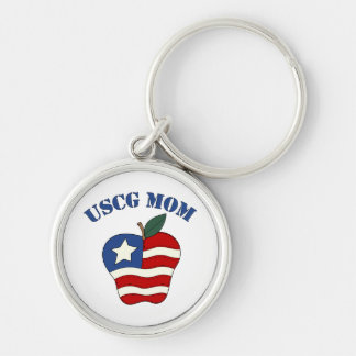 USCG Mom Patriotic Apple Silver-Colored Round Keychain