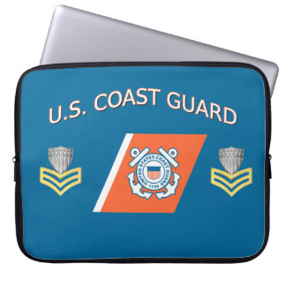 USCG Petty Officer First Class Racing Stripe Laptop Sleeves