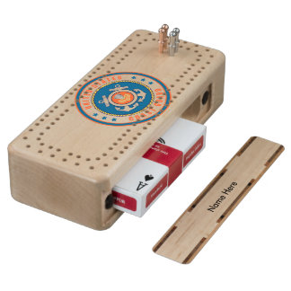 USCG Petty Officer First Class Shield Maple Cribbage Board