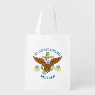 USCG PO1 Retired Eagle Anchor Shield Grocery Bag