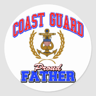 USCG Proud Father Classic Round Sticker