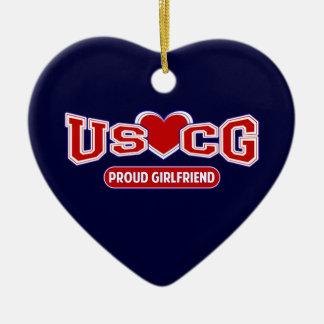 USCG Proud Girlfriend Double-Sided Heart Ceramic Christmas Ornament