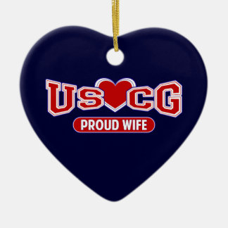 USCG Proud Wife Double-Sided Heart Ceramic Christmas Ornament