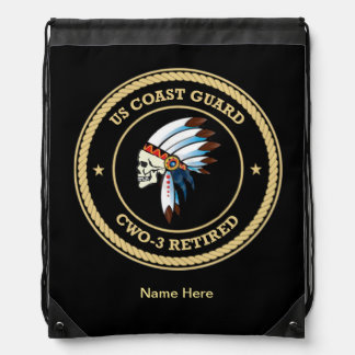 USCG Retired Chief Warrant Officer 3 Drawstring Backpacks