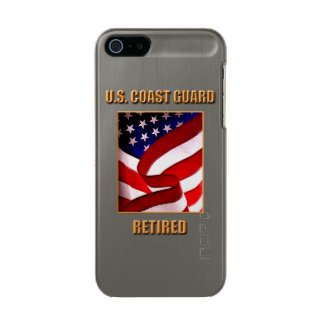 USCG Retired iPhone 5/5s Feather® Shine, Gunmetal Metallic Phone Case For iPhone SE/5/5s