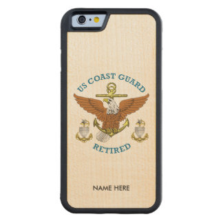 USCG SCPO-2 Retired Eagle Anchor Shield Carved® Maple iPhone 6 Bumper Case