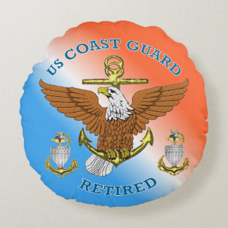 USCG SCPO-2 Retired Eagle Anchor Shield Round Pillow