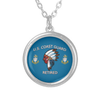USCG Senior Chief Petty Officer Retired Round Pendant Necklace