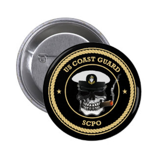 USCG Senior Chief Petty Officer Skull Pinback Button