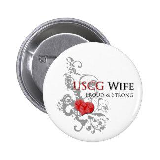 USCG Wife Floral Swirls Button