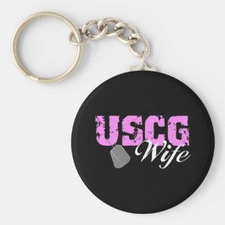 USCG Wife Basic Round Button Keychain
