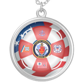USCGC Healy WAGB-20 Life-ring Round Pendant Necklace