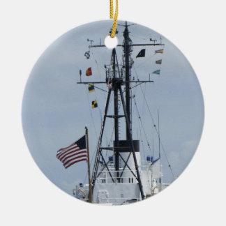 USCGC Ingham Adorno Navideño Redondo De Cerámica