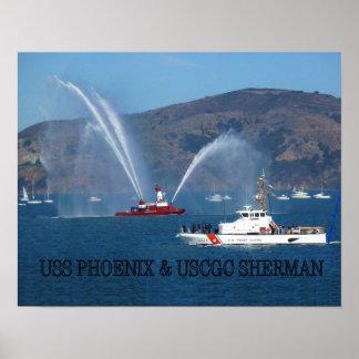 USCGC SHERMAN Y LANCHA CONTRAINCENDIOS PHOENIX PÓSTER